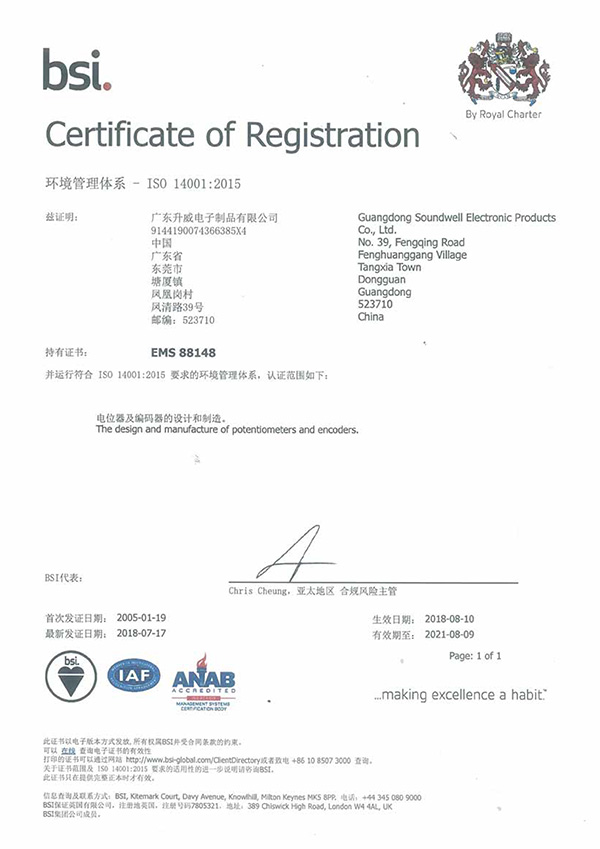 Shengwei Electronics obtained ISO 14001:2015 quality management system