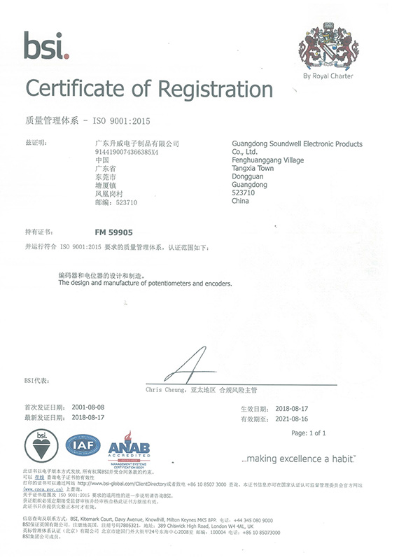 Shengwei Electronics obtained ISO 9001:2015 quality management system