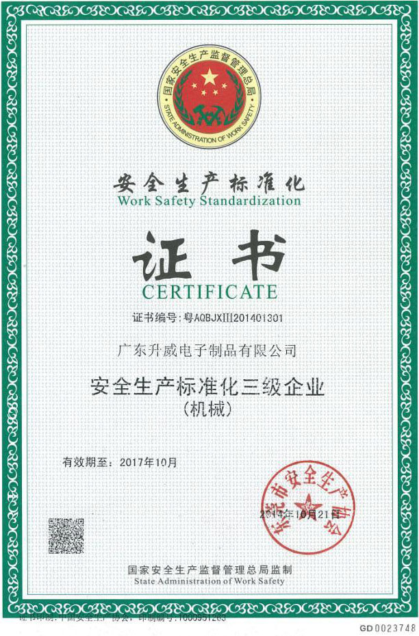 Safety standards certificate