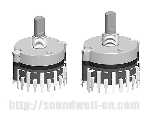 RE32 Metal shaft rotary multi-way switch
